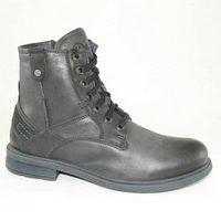 Мужские чёрные зимние ботинки шнурки-молния